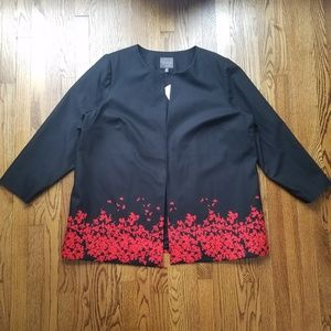 The Limited Black Floating Floral Blazer NWT 24W
